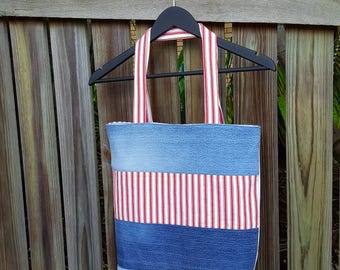 Recycled Denim Bag, Red Stripes, Fully Lined, Denim Tote Bag, Ecofriendly, Handmade, Repurposed Denim Bag, Weekend Bag