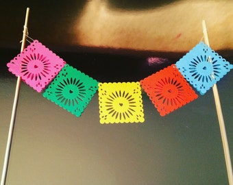Papel Picado Cake Banner Colorful