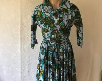 1950s Peggy Park cotton floral print rouched dress with full skirt
