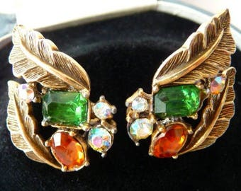 Coro clip on earrings | vintage antiqued gold tone leaf leaves settings | faux emerald orange sapphire AB rhinestones | vintage earrings