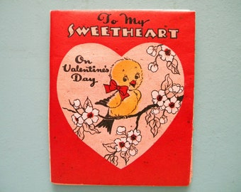 Vintage Valentine's Day Card Poster Size Fold Out with Yellow Birds Signed
