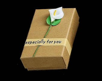 MERZIEs artisan paper gift box with raised flower present kraft holiday  - SHIPs from USA