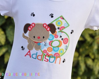 Personalized Girls Puppy Birthday Ruffle Shirt with Paw Prints / Short Sleeve