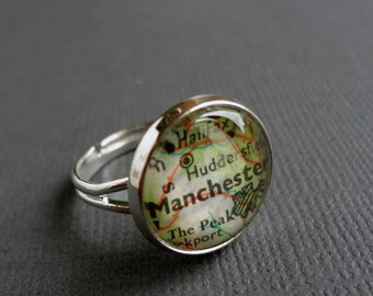 Personalized ring, customised silver adjustable map ring, silver plated, adjustable