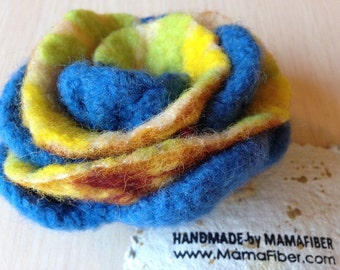 Big woollen felted rose brooch in bright colours  - a flower pin in blue-yellow-green