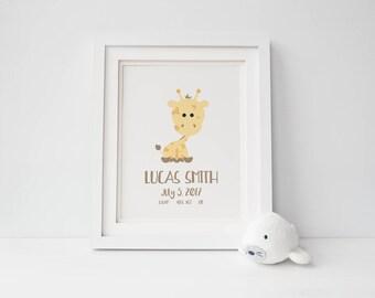 Custom Birth Print   Birth Announcement   Personalized Art   Personalized Kid Gift   Baby   Toddler Gift   Farm   Zoo   Safari   Woodland