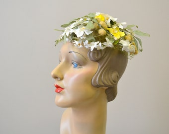 1950s Don Marshall Floral Whimsy Hat with Netting