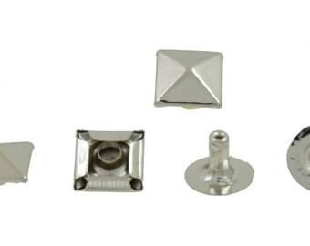 Pyramid Rapid Rivet Studs Leathercraft Supplies Silver Tone 10 mm. 100 pcs.