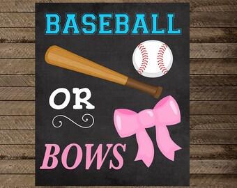 baseball or bows gender reveal party, gender reveal chalkboard, baseball or bows chalkboard, baseball or bow gender reveal sign, boy or girl