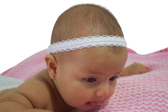 Christening Headband, Baby Halo Headband, Baby Lace Headband, White Baby Headband, Pearls Headband, Baptism Headband, Wedding Headpiece