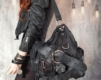 Black raw edges hobo bag harley davidson route 66 purse rocker free rider people goth rocknroll rockstyle rock metalhead  sweetsmoke