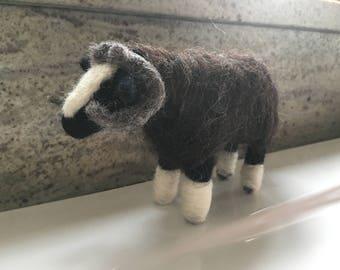 Needle felted Balwen Welsh Mountain Sheep