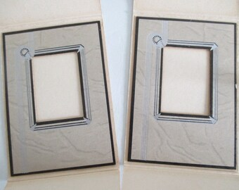 Pair Hand Painted Art Deco Small Photo Frames Silver Leaf Folding Cardboard