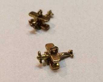 """Bi-Plane, Brass, 3/4"""", 3-D charms"""