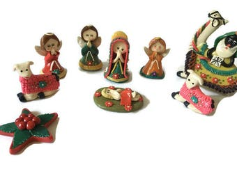 """Vintage Colorful Handmade Polymere Clay Nativity Set, 9 Pieces Vintage Nativity Clay Paste Set, 2.5"""" Tall"""