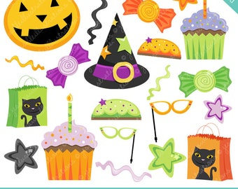 Halloween Party Favors Cute Digital Clipart - Commercial Use Ok - Halloween Graphics, Halloween Clipart, Digital Art