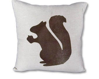 Brown Squirrel - Fall pillow cover on Canvas/linen