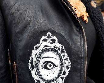 Hand Made, Screen Printed Fabric Apparel Patch, 'Watching Over You' Patch, Alternative Witchy Patch