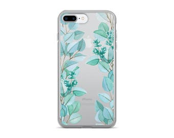 Eucalyptus iPhone Case | Clear Phone Case | Botanical iPhone Case | iPhone 7 | iPhone 6 Case | Nature Inspired | Plants | Watercolor Pattern