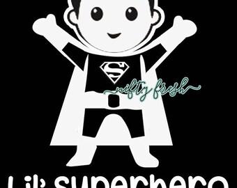 Superman Lil Superhero Baby in Car on Board Child Infant Toddler Kid Children Vehicle Window Decal Die Cut Bumper Vinyl Sticker White
