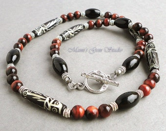 Men's Necklace, Tribal Necklace, Carved Bone, Black Onyx, Red Tiger Eye Beaded Necklace for Men, Guys, Mens Jewelry