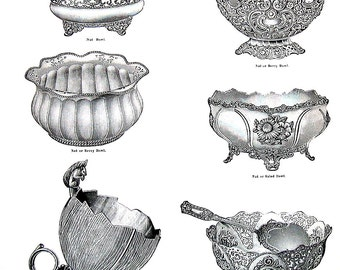 1968 Vintage Book Print - Nut Berry and Salad Bowls, Cake Baskets - Victorian Americana Black and White 2 Sided Page