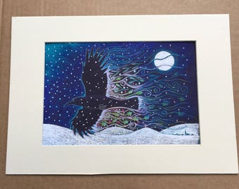 Yule Crow Giclee print mounted at A4
