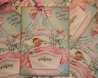 Vintage Baby Tags - Best Wishes to Baby and You Gift Tags