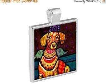 SALE ENDING- Dachshund Angel Necklace Doxie Dog Folk Art Jewelry - Pendant Metal  Gift Art Heather Galler Gift-  Weiner Dog Lovers Abstrac