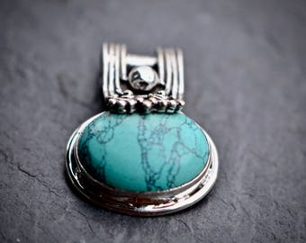 Turquoise Necklace, Sterling Silver Pendant, Blue Turquoise Necklace, Turquoise Jewelry, December Birthstone, Statement Turquoise Pendant