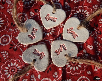 Small Love Heart Ornaments, Set