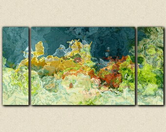 """Abstract art triptych, 30x60 to 40x78 gallery wrap giclee canvas print, in teal and green, from abstract painting """"The Finer Things"""""""