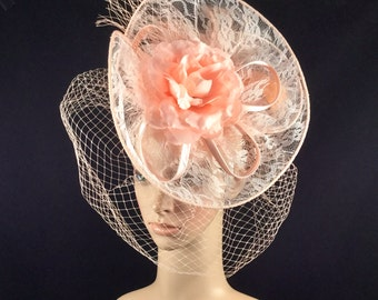 Peach Color Lace Fascinator with Veiling and Rose ,Peach Bridal Wedding Fascinator, Black Funeral Fascinator
