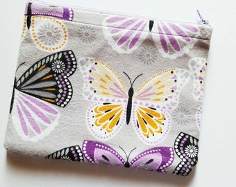 Purple and Orange Butterfly Makeup Bag