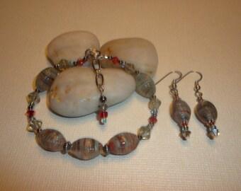 ON SALE! Pretty Czech Glass Bracelet And Earrings