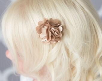 Tan hair clips, 2 clips, chiffon flower clip, piggy tail hair clips, toddler hair clip, baby hair clip, baby shower gift, flower girl clip
