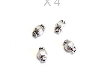 X 4 PCs antique silver color metal beads