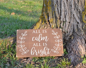 All is Calm Silent Night Christmas Carol Lyrics Distressed Rustic Vinyl Decal Wood Sign