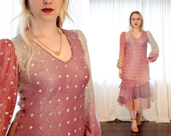 Rare vintage designer Judy Hornby couture silk metallic thread lurex dusty rose pink purple ombre ruffle dress Indian inspired 1970s 70s