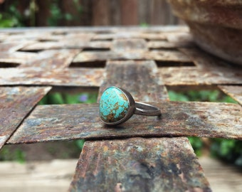 Small Turquoise Ring for Women Size 5 Native American Ring Number 8 Turquoise Sterling Silver, Vintage Turquoise Jewelry Gift for Young Girl