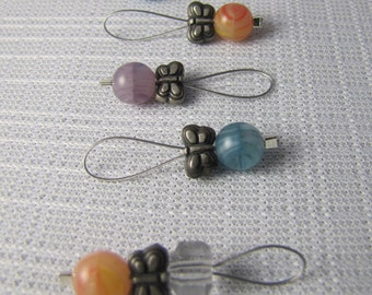 Butterflies & Berries - Six Snagless Stitch Markers - Fits Up To 6.5 mm (10.5 US)