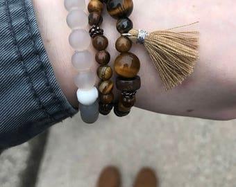 54 Bead Tigers Eye Meditation Mala Bracelet With Tassel