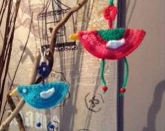 Wool crochet birds