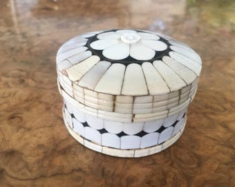 Beautiful Vintage Brass Trinket Box Overlaid In Ivory Porcelain Floral Geometric Design Jewellery/Trinket/Pill Box