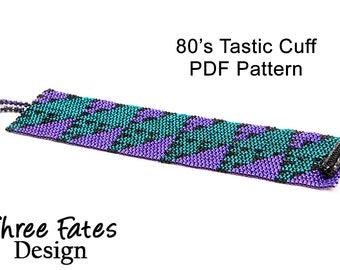 Pattern, 80s, Beaded Bracelet, Seed Bead Pattern, PDF Pattern, Instant Download, Peyote