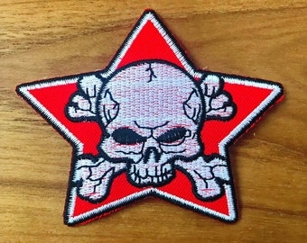 Red Star Pirate Skull Crossed Embroidered Iron On/Sew On Patch