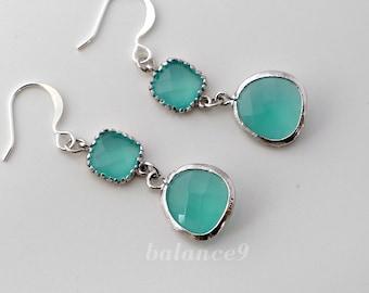 Crystal earrings, Mint green dangle, long silver crystal drop earrings, jewelry gift, by balance9