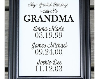 My Greatest Blessing Call Me Grandma | Cotton Canvas Print | Personalized Gift for Grandma | Christmas Gift for Grandma | Gift for Grandma