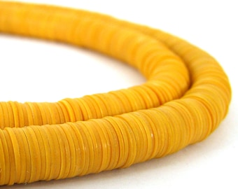 Vinyl 8mm Beads Phono Vulcanite Heishi Disc - Golden Orange - 1000 Beads African Trade SKU-VINYL8-6