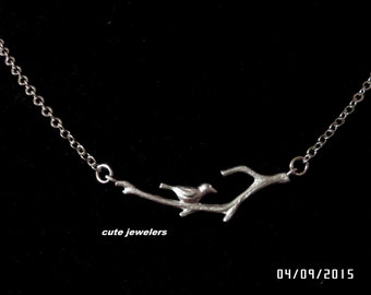 STERLING SILVER Bird on branch necklace, charm necklace for mom, sister,grandmother, Affordable Christmas gift ,